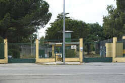 The entrance of the protected Cie (Identification and Expulsion Center) and CARA (Reception Center for asylum seekers) of Isola Capo Rizzuto, Crotone, southern Italy. Managed by the Misericordia of Isola Capo Rizzuto whose head was arrested today May 15, 2017, together with the priest of Isola Capo Rizzuto and another 66 members of the Calabrian 'Ndrangheta of the Arena family in Crotone, because they exploited the reception of migrants and refugees To appropriate European funding.