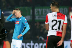 Napoli's Polish midfielder Piotr Zielinski reacts at the end of the UEFA Champions League Group F football match Feyenoord Rotterdam vs SSC Napoli at the Feyenoord Stadium. SSC Napoli goes to Europa League after Feyenoord won the match 2-1.