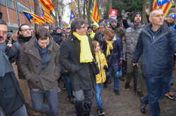 "Carles Puigdemont with Catalan protesters during the parade in Brussels to protest against Europe by inviting Europe to ""wake up"" on the Catalan question. Carles Puigdemont, former President of the Catalan Generalitat, is also present at the event."