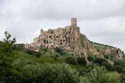 A panoramic view of Craco, in Basilicata, southern Italy. In the 60s, due to a landslide, Craco was immediately abandoned, since then it has become a ghost town. Due to its characteristics and the state of Craco abandonment has become a tourist destination and is often set of films.