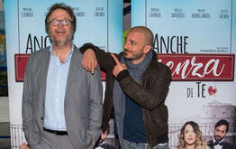 "The film director Francesco Bonelli (L) and the actor Nicolas Vaporidis (R), during the presentation of the new film ""Even without you"" by Francesco Bonelli."