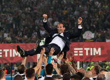 Juventus' Italian coach Massimiliano Allegri is celebrated by players during the Tim Italy Cup Final football match AC Milan vs Juventus FC at theOlimpico Stadium. Juventus won 4-0.