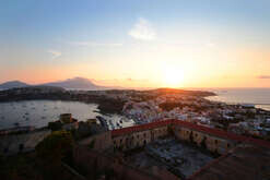 Sunset In Procida Island from Terra Murata village in the Gulf of Naples.